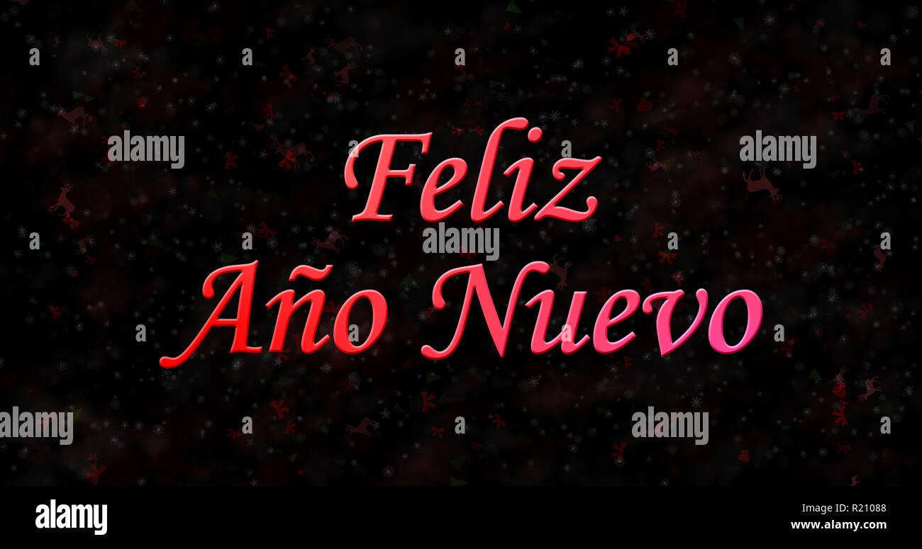 happy new year text in spanish feliz ano nuevo on black background