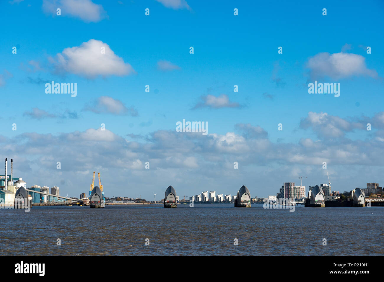 The Thames Barrier. From the Open City Thames Architecture Tour East. Photo date: Saturday, November 10, 2018. Photo: Roger Garfield/Alamy Stock Photo