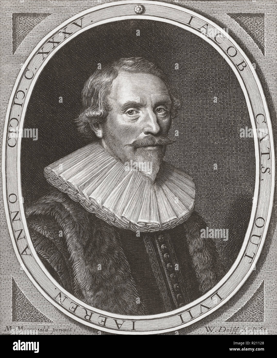 Jacob Cats, 1577 – 1660.  Dutch poet, humorist, jurist and politician.  He is famed as the author of emblem books. - Stock Image