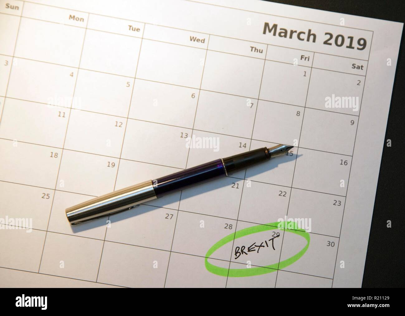 Brexit day: UK due to leave the EU on 29th March 2019 - Stock Image