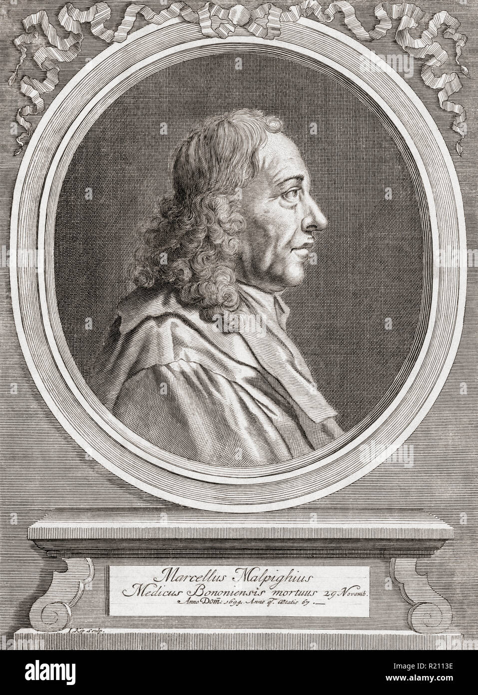 "Marcello Malpighi, 1628 – 1694.  Italian biologist and physician.  Considered as the ""Father of microscopical anatomy, histology, physiology and embryology"". - Stock Image"