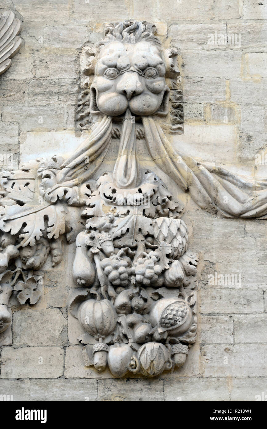 Carved Stone Lion and Fruit Garland Baroque Sculpture and Facade of the Hôtel des Monnaies (1619) Town House or Mansion Avignon Provence France - Stock Image