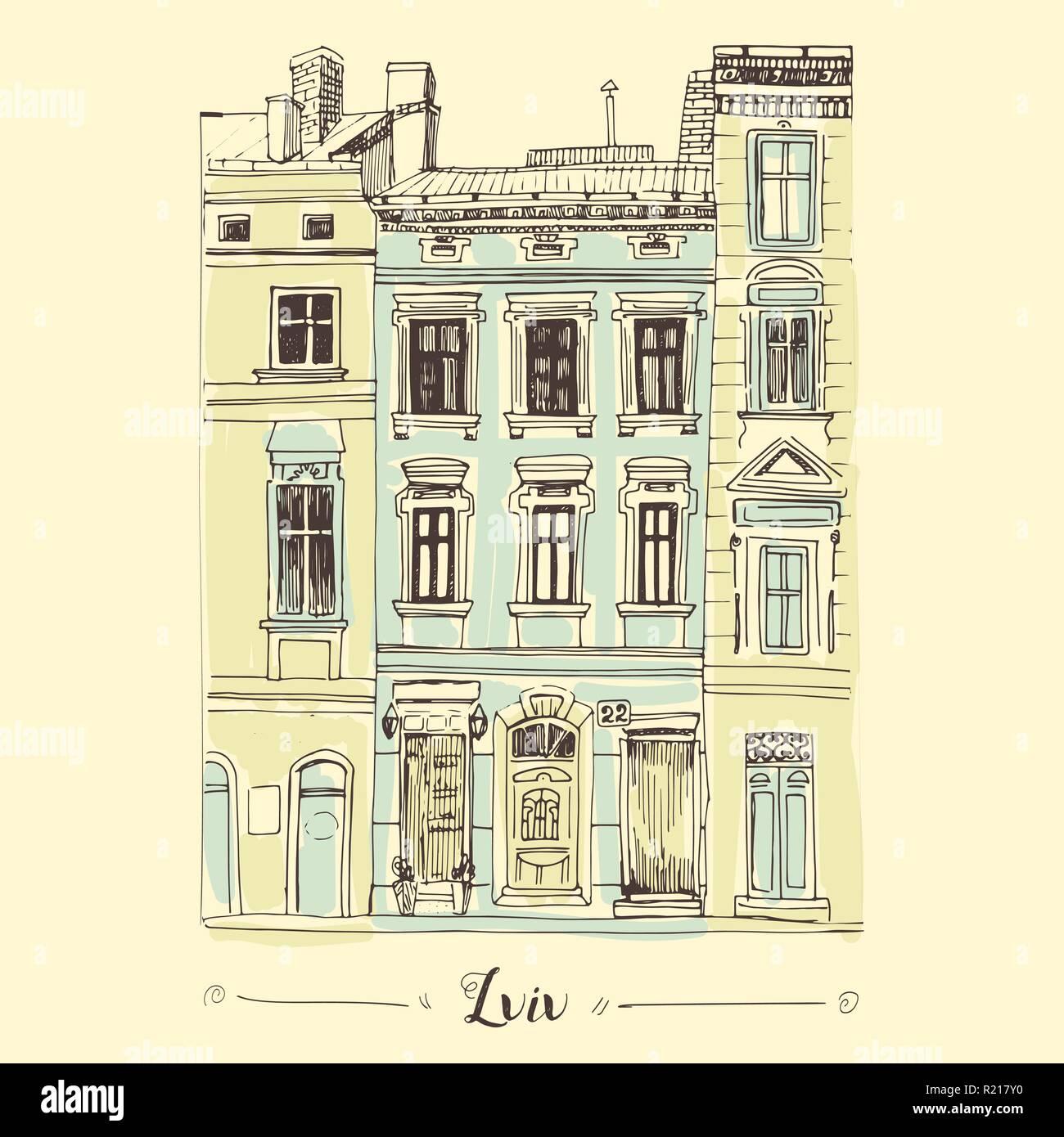 Lviv house hand drawn sketch. European old building for postcard design. - Stock Vector