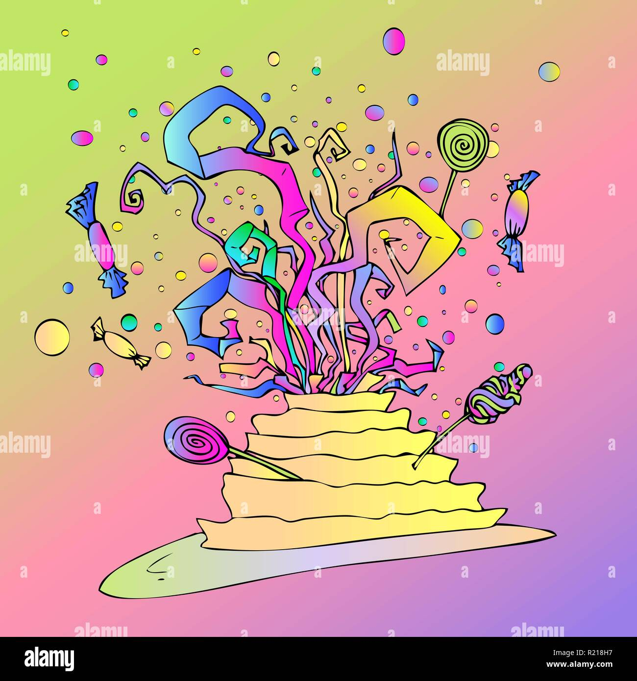 Magnificent Birthday Cake With Sweets Lollipops And Confetti In Pink Yellow Funny Birthday Cards Online Ioscodamsfinfo