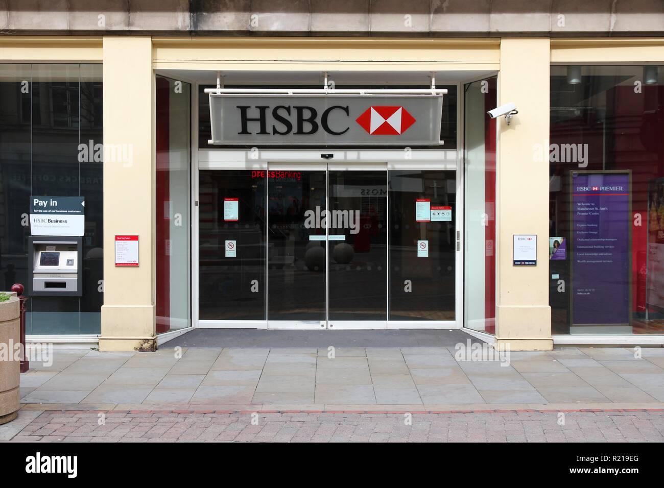 MANCHESTER, UK - APRIL 21, 2013: Exterior view of HSBC Bank