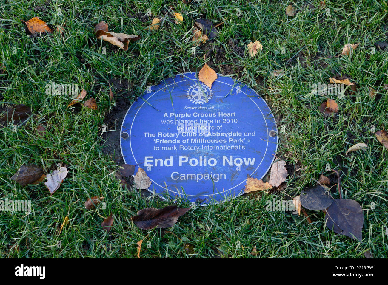 End Polio Now Plaque - Millhouses Park Sheffield UK - Stock Image
