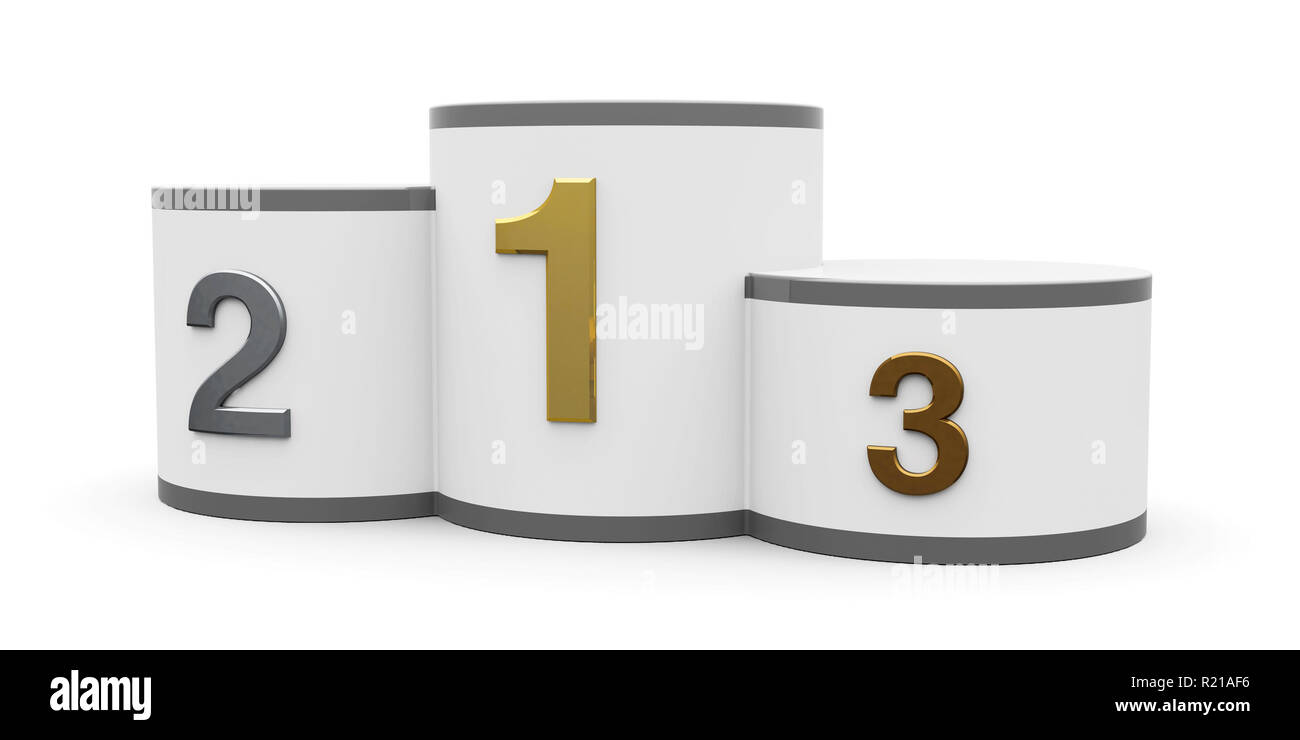 White and gray cylinder podium with three rank places, three-dimensional rendering, 3D illustration - Stock Image