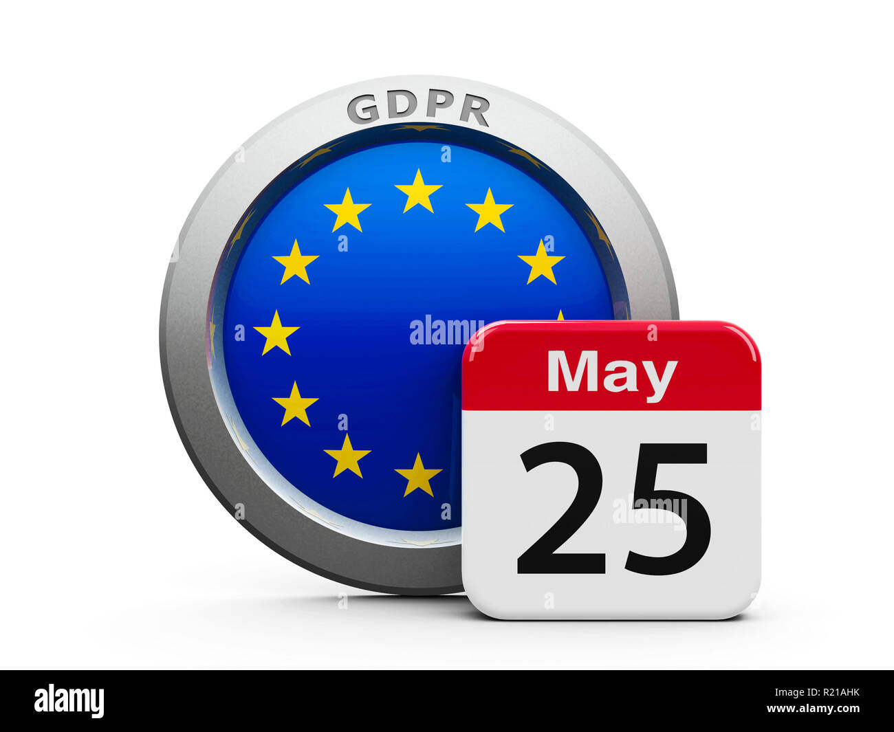 Emblem of European Union with calendar button - The Twenty Fifth of May - represents the Implementation date 2018 of GDPR - General Data Protection Re - Stock Image