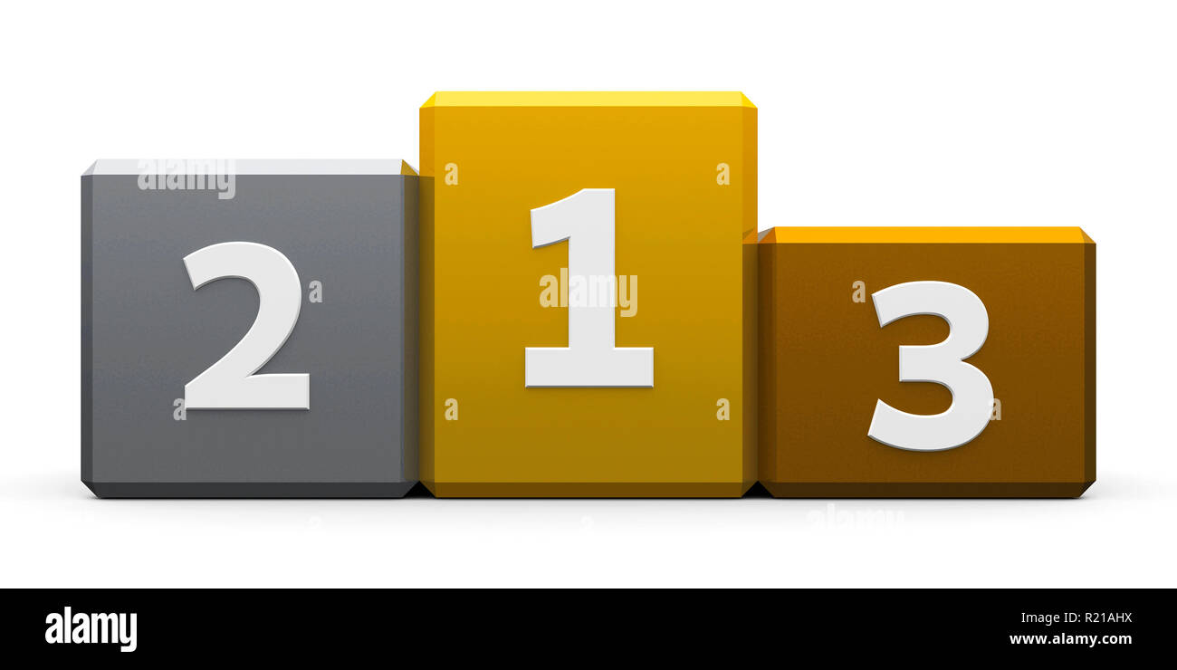 Metal podium with three rank places, three-dimensional rendering, 3D illustration - Stock Image