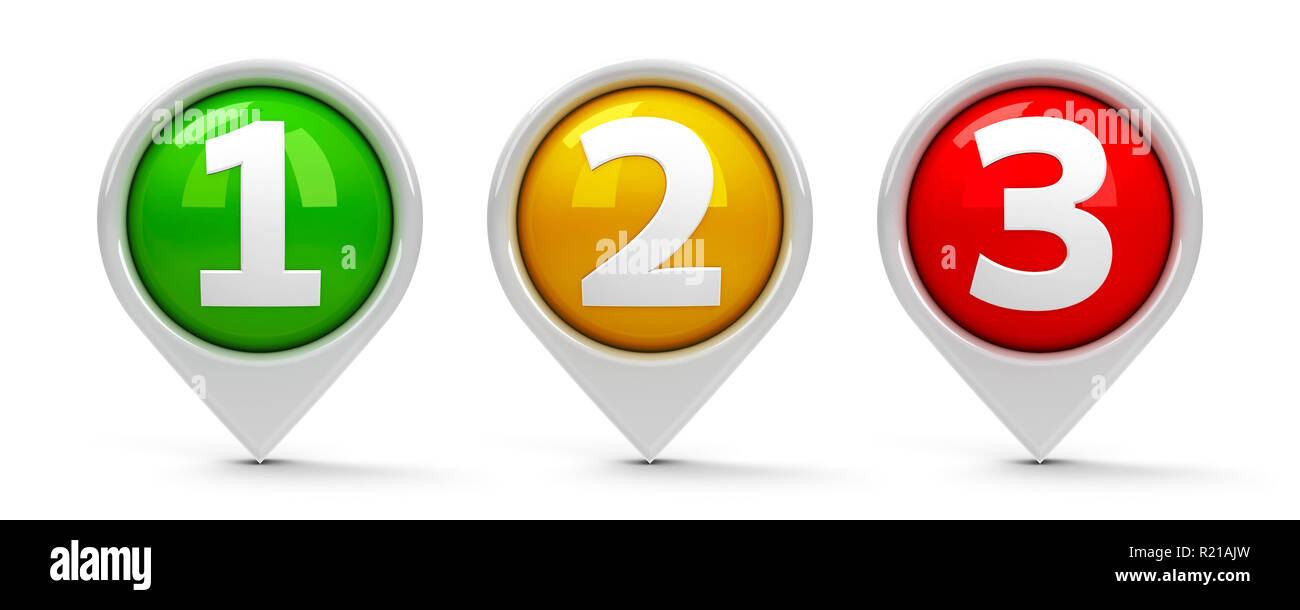 Map pointers with numbers 1, 2, 3 (one, two, three) isolated on white background, three-dimensional rendering, 3D illustration - Stock Image