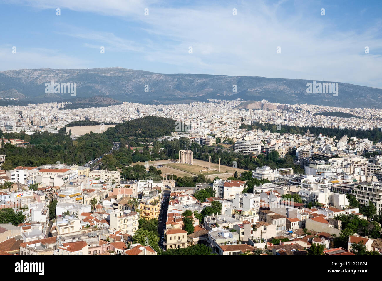 View from the Acropolis of Athens, Greece looking out towards the Temple of Olympian Zeus. - Stock Image
