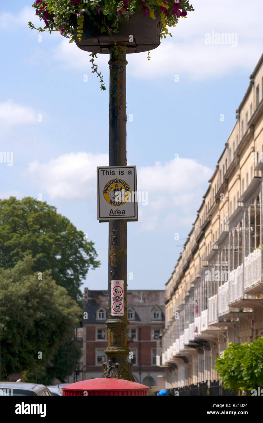Bristol, UK - 5th July 2013: A Neighbourhood Watch sign on a lamp post in the Clifton area of Bristol, UK - Stock Image