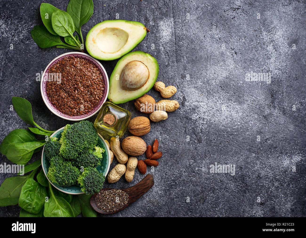 Concept of healthy food. Vegan fat sources  - Stock Image