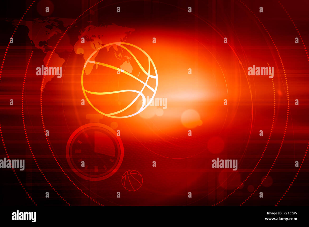 Graphical digital sport news red theme background with outline balls and chronometer - Stock Image