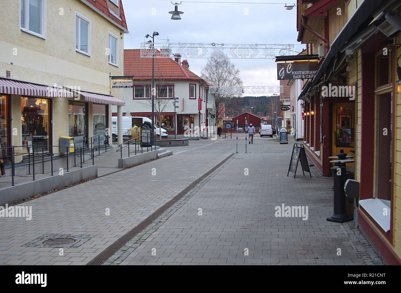 The small town of Leksand in Dalarna,Sweden on a grey autumn day.15.11.2018 - Stock Image