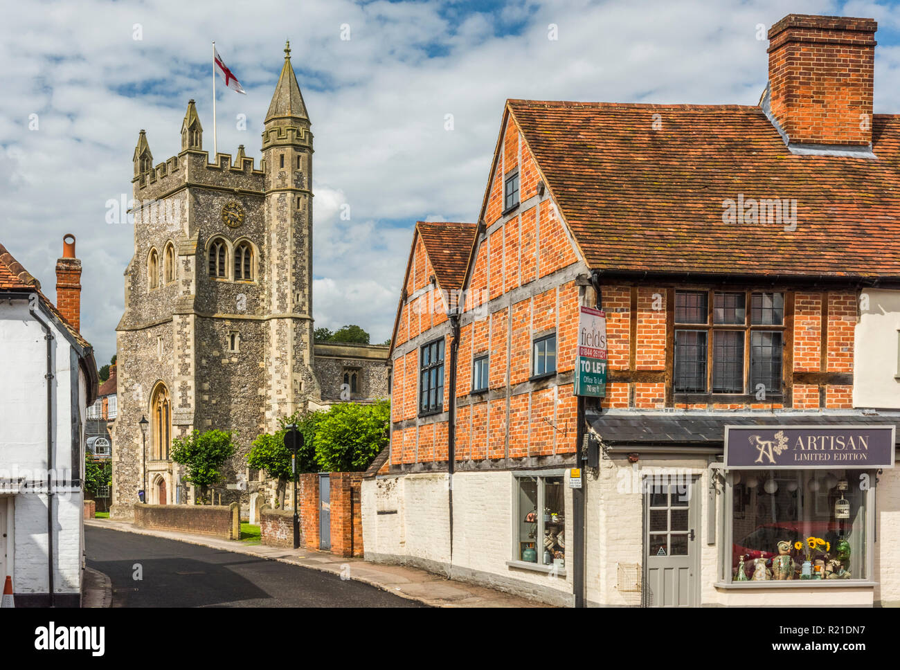 Timber-framed buildings in Old Amersham, Buckinghamshire, The Chilterns, England - Stock Image