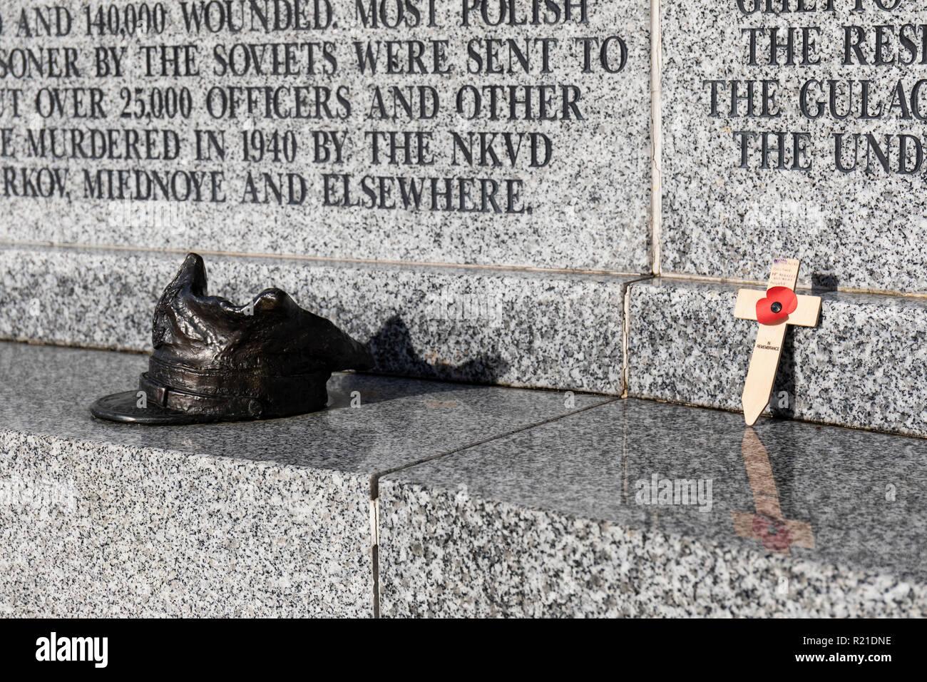 The Polish Forces War Memorial, The National Memorial Arboretum, Airewas, Staffordshire, UK - Stock Image