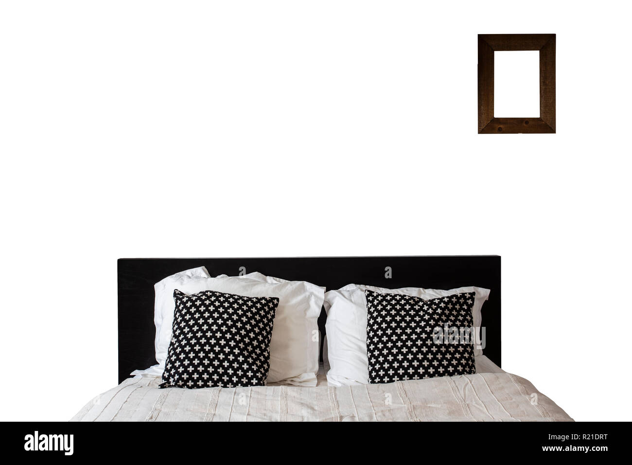 Bed with empty frame Isolated on White Background. Queen -Size ...