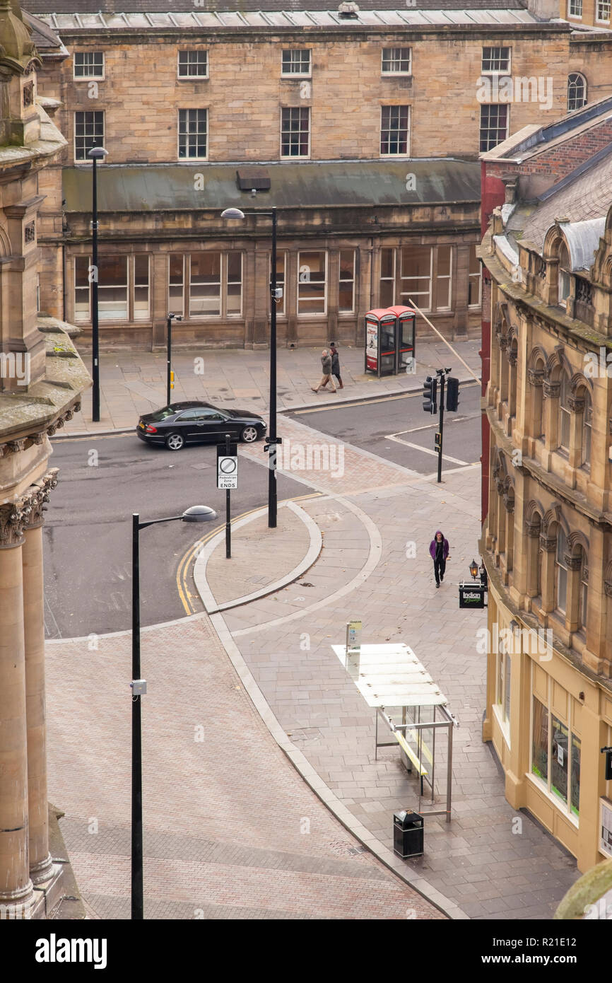 The Side and Dean Street in Newcastle upon Tyne, UK, featuring lots of Georgian architecture, seen from the Tyne Bridge - Stock Image