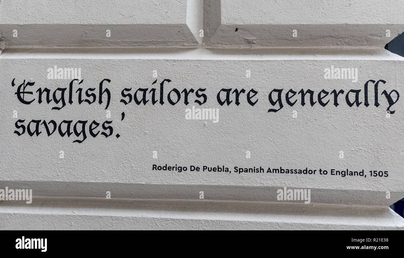 English Sailors Are Generally Savages Saying in The National Maritime Museum Greenwich London UK - Stock Image