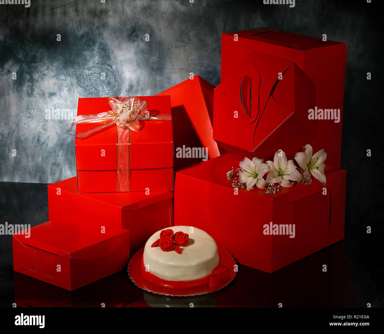 A shot of different types of red packaging - Stock Image