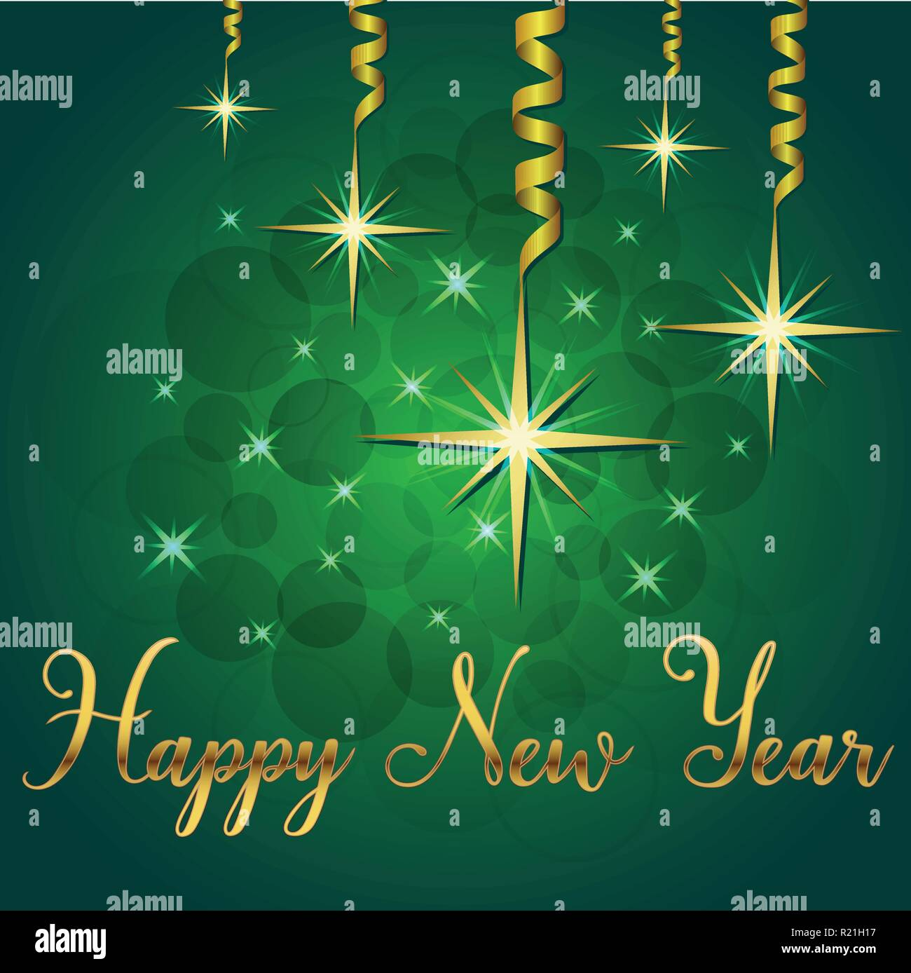 Brilliant Vector illustration of Stars and sparkles on green background and  hand lettering congratulation happy new year, fond for winter holidays, gr