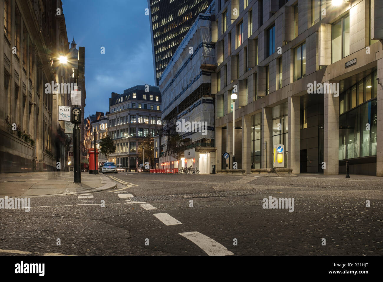 UK,City of London,EC3- Building works undertaken on Great Tower Street in the financial district - Stock Image