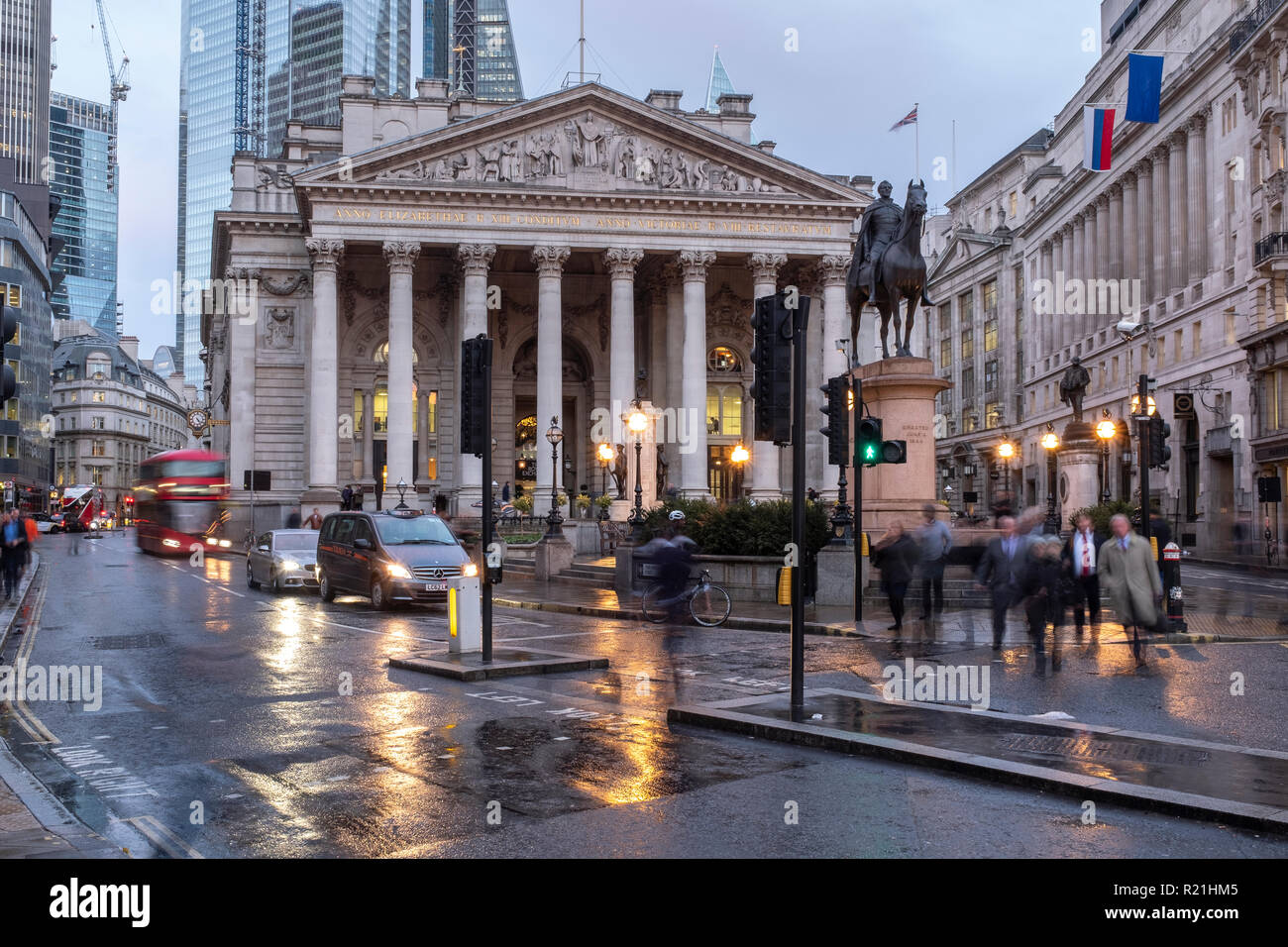 England,City of London - The Royal Exchange Building in the Financial district - Stock Image