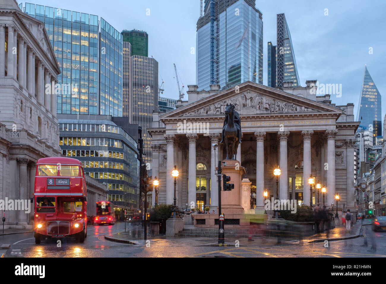 England, City of London- The Royal exchange building at night - Stock Image