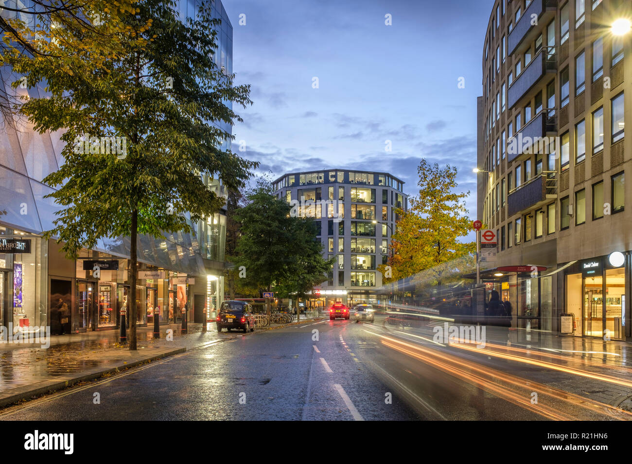 England,London, Cheapside,One New Change- traffic trails at night - Stock Image