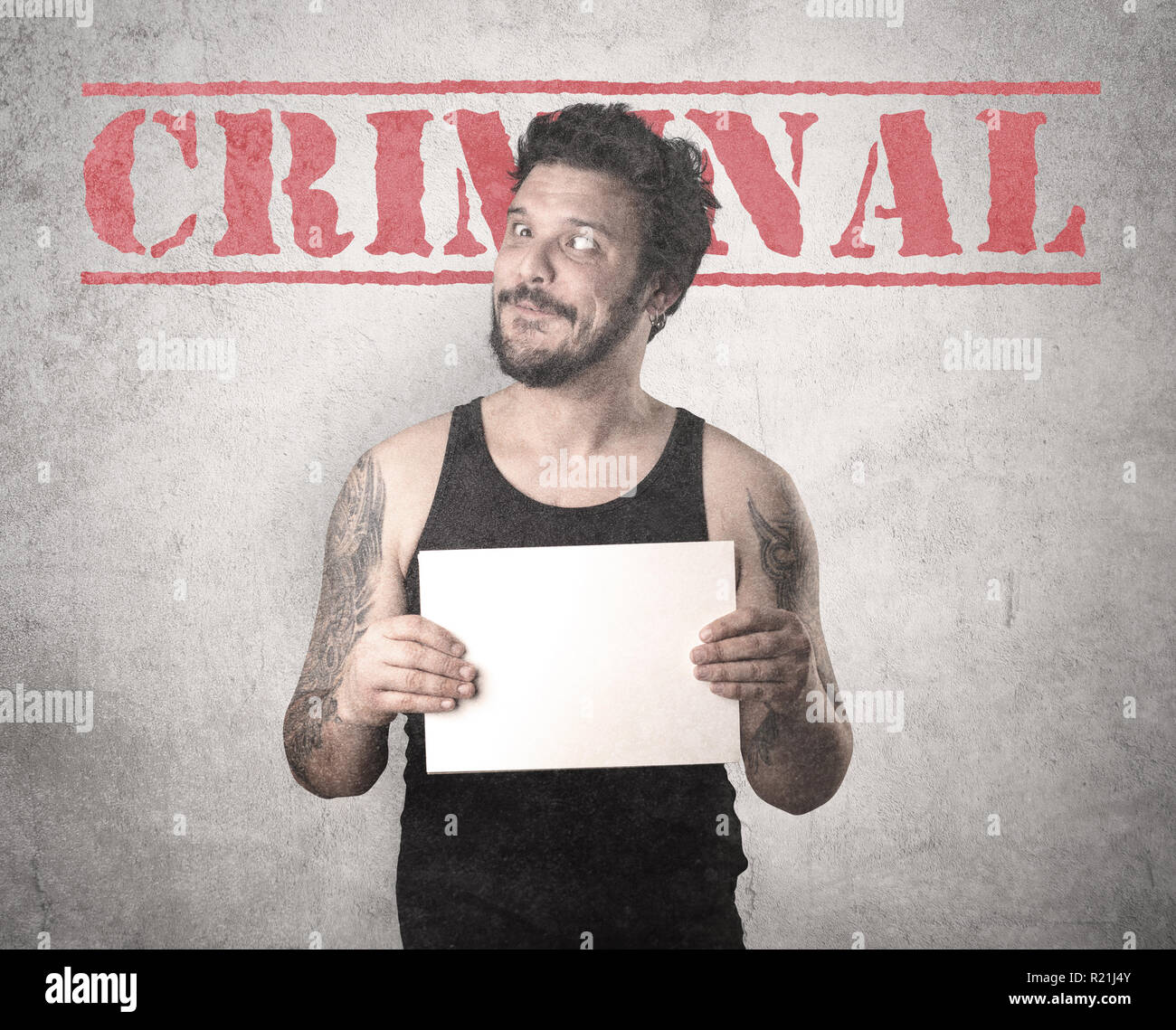 Caught gangster with criminal background. - Stock Image