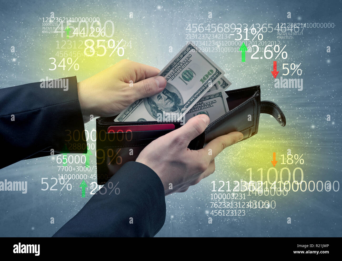 Hand takes out dollar from wallet with stock exchange theme Stock