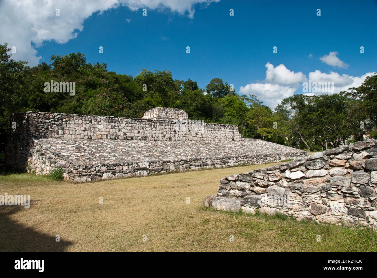 A Mesoamerican ballcourt at Ek Balam (Black Jaquar), a Mayan archaeological site in Yucatan, Mexico. - Stock Image