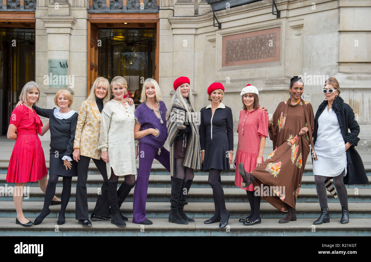 V&A, London, UK. 15 November, 2018. Models from the 1960s and 70s that worked with Mary Quant gather to form a Quant revival. - Stock Image