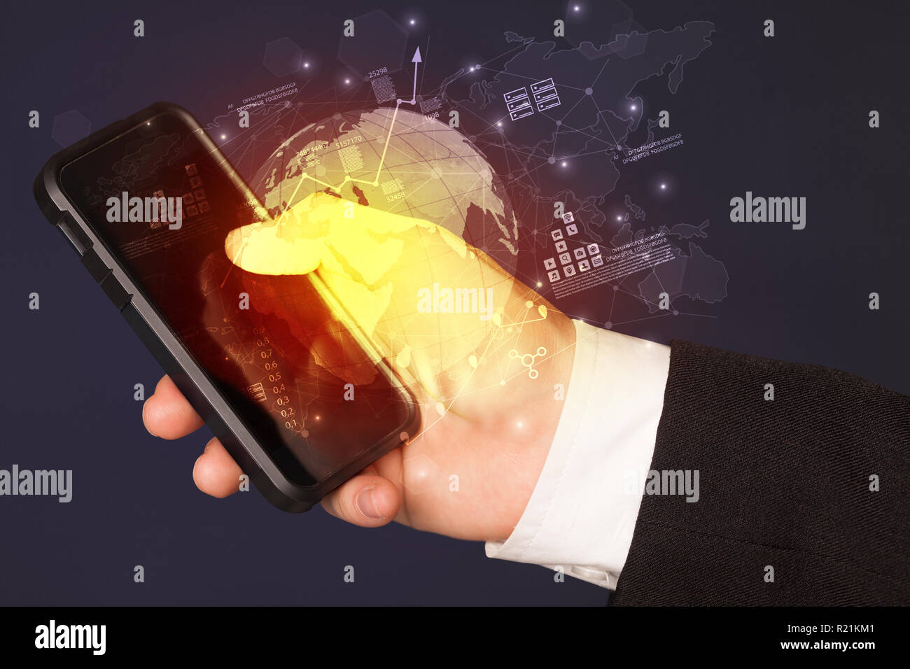 Hand using phone with global reports and stock market change concept  - Stock Image