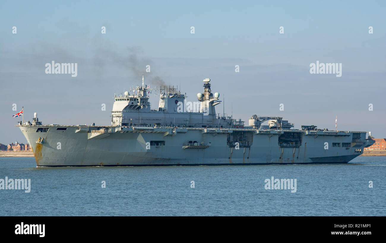 The British Royal Navy Helicopter Carrier, HMS Ocean departs Portsmouth, UK on 6/2/2018 after her final visit before decommissioning at Plymouth. - Stock Image
