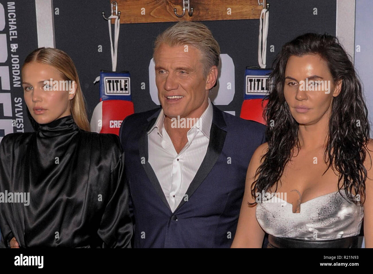 NEW YORK, NY - NOV 14, 2018: Greta Lundgren , Dolph Lundgren and Jenny Sandersson attend 'Creed II' World Premiere at AMC Loews Lincoln Square. - Stock Image