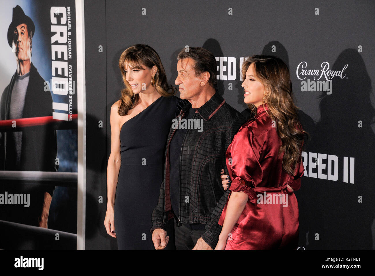 NEW YORK, NY - NOVEMBER 14: Jennifer Flavin, Sylvester Stallone and Sophia Rose Stallone attends 'Creed II' World Premiere at AMC Loews Lincoln Square - Stock Image