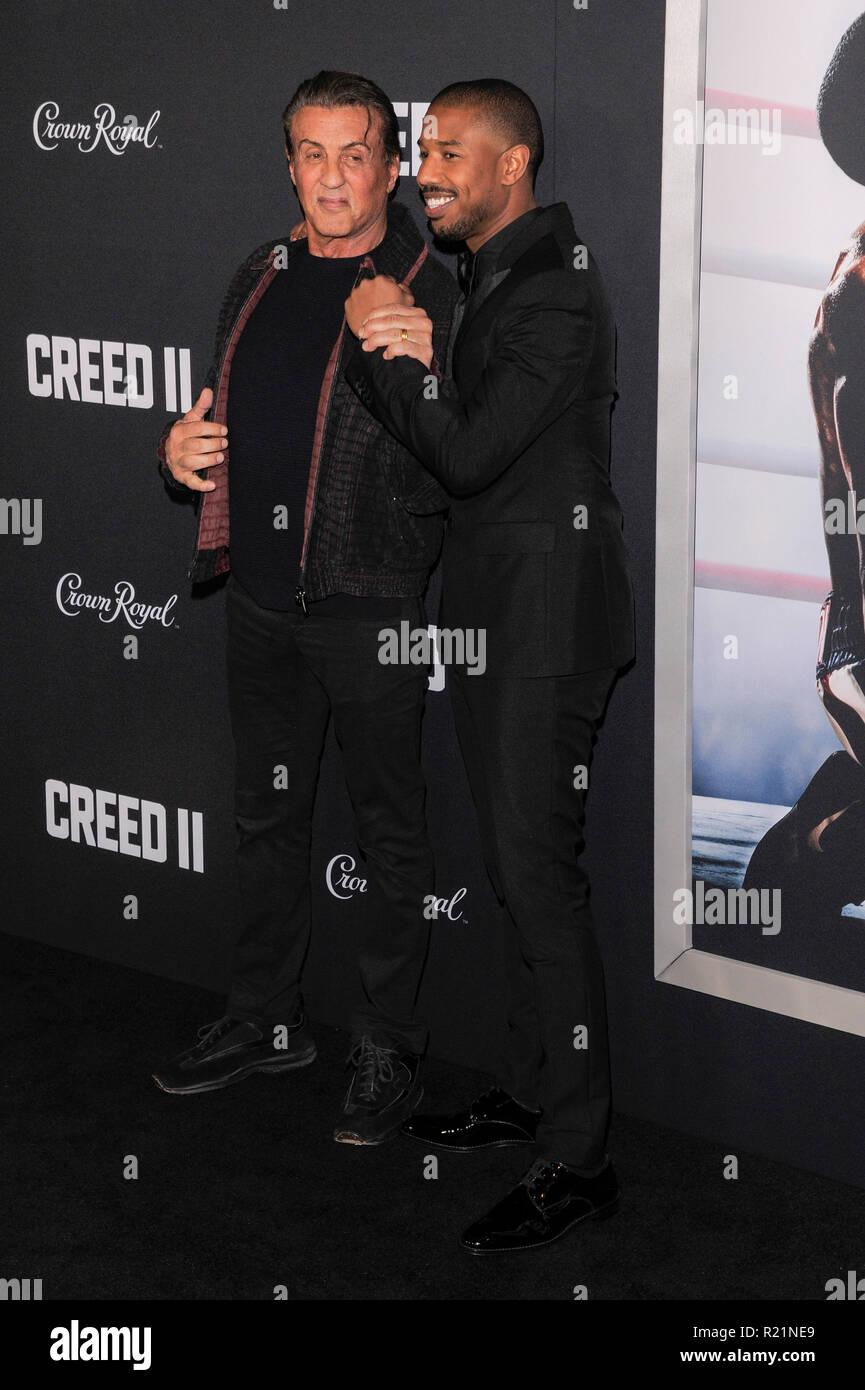 NEW YORK, NY - NOVEMBER 14: Sylvester Stallone and Michael B. Jordan attend 'Creed II' World Premiere at AMC Loews Lincoln Square on November 14, 2018 - Stock Image