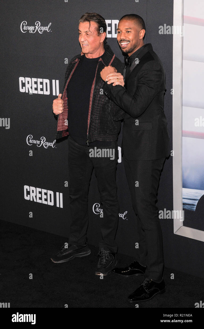 NEW YORK, NY - NOVEMBER 14: Sylvester Stallone and Michael B. Jordan attend 'Creed II' World Premiere at AMC Loews Lincoln Square on November 14, 2018 Stock Photo