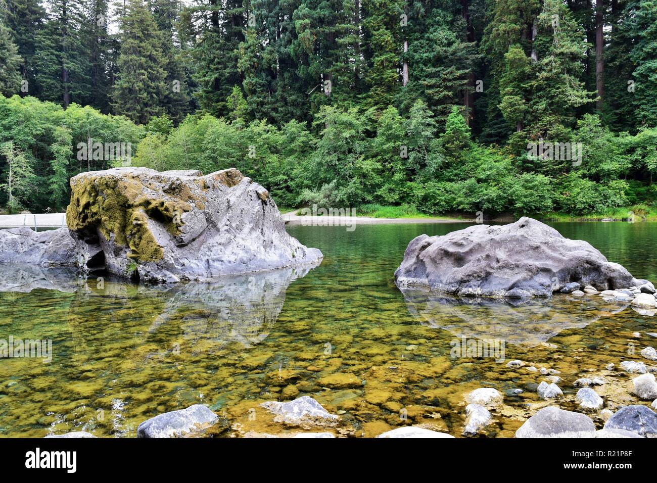 The Smith River at Jedediah Smith Redwoods State Park - Stock Image
