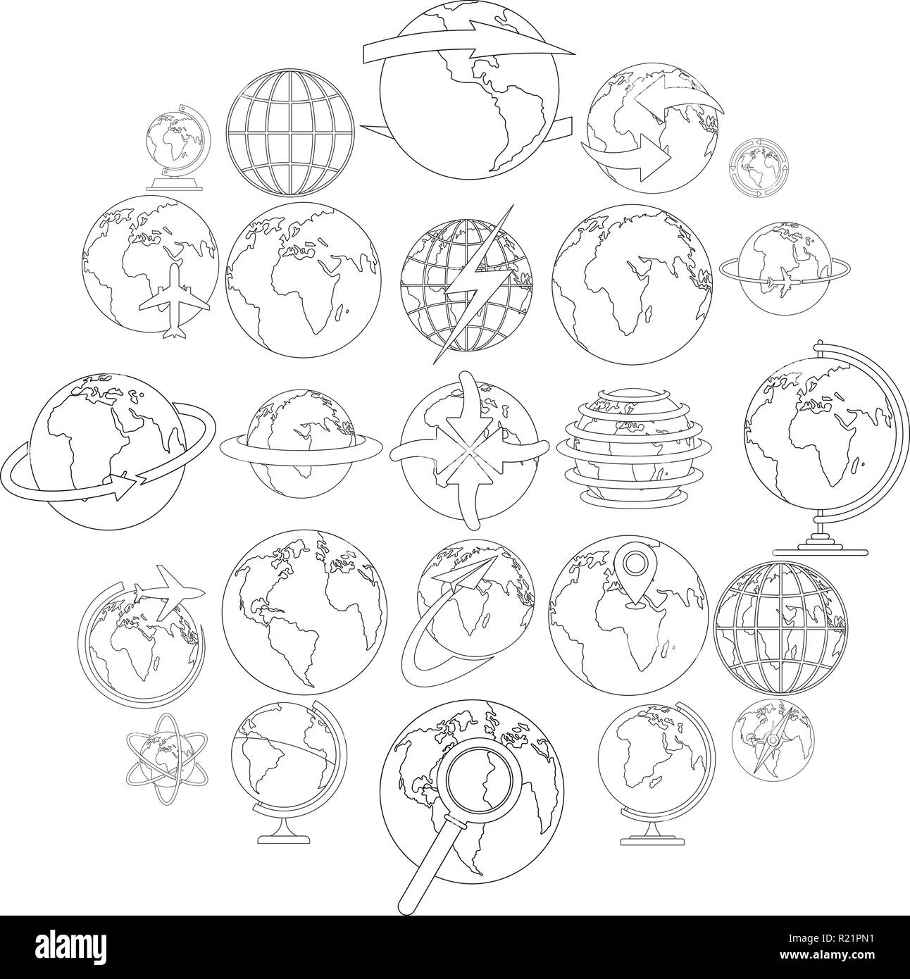 Globe Earth icons set. Outline illustration of 25 Globe Earth vector icons for web - Stock Image