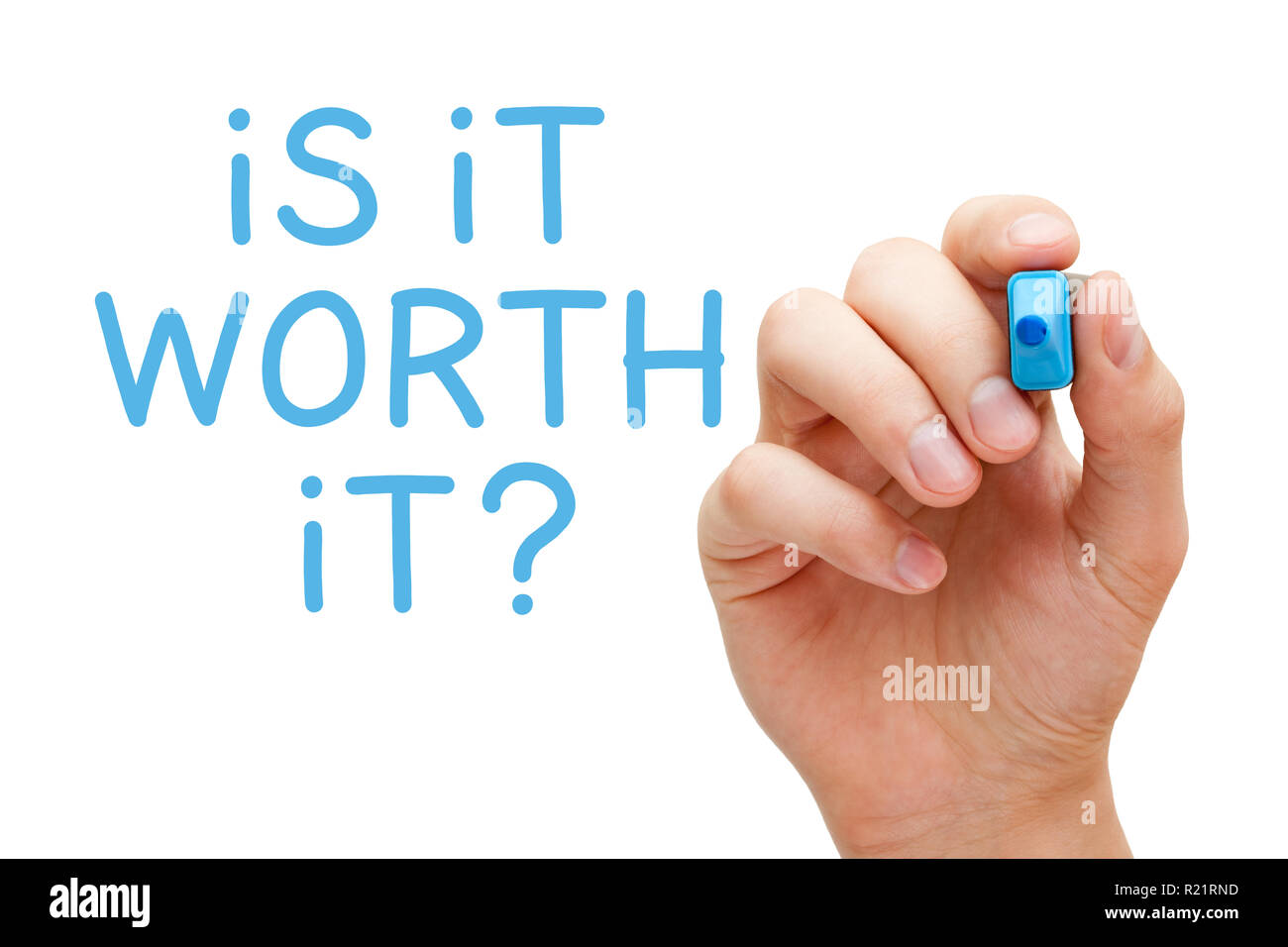 Hand writing the question Is It Worth It with blue marker on transparent glass board isolated on white. - Stock Image
