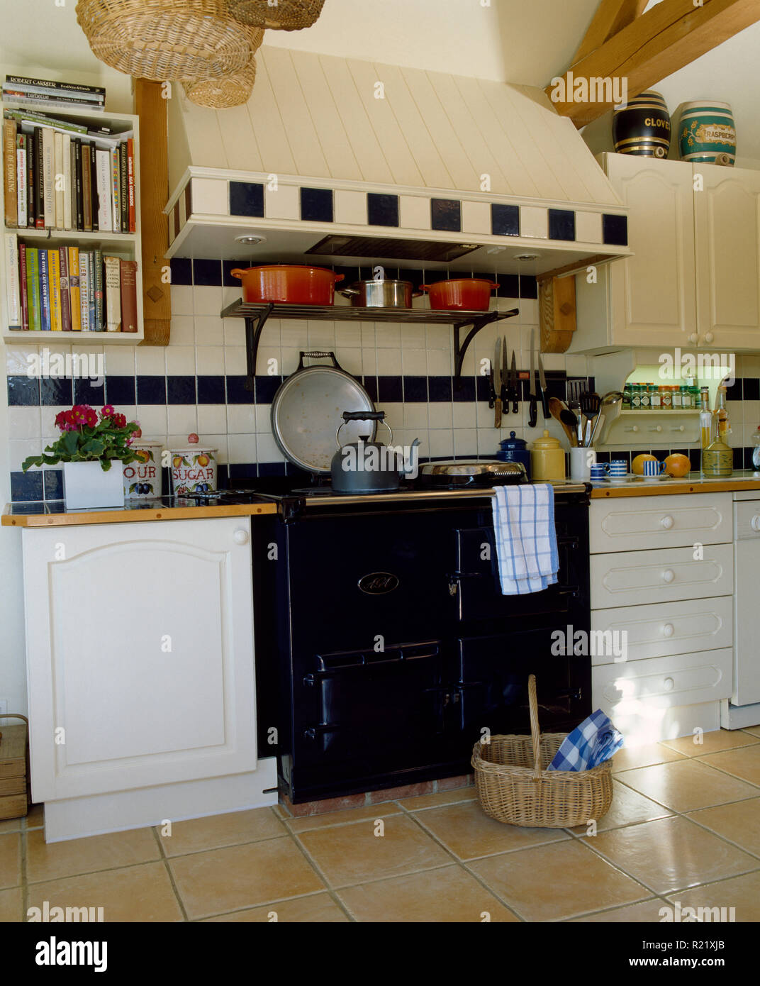 Tiled Splashback Above Black Aga In Country Kitchen Stock ...