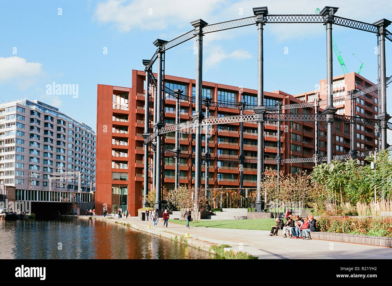 Gasholder Park and the Regents Canal at King's Cross, London UK Stock Photo