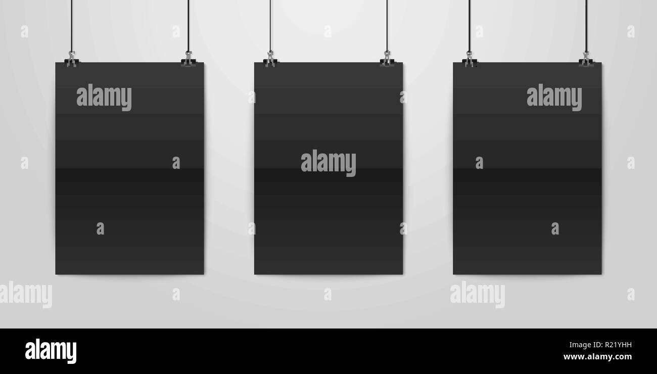 three vector realistic black blank vertical a4 folded paper poster