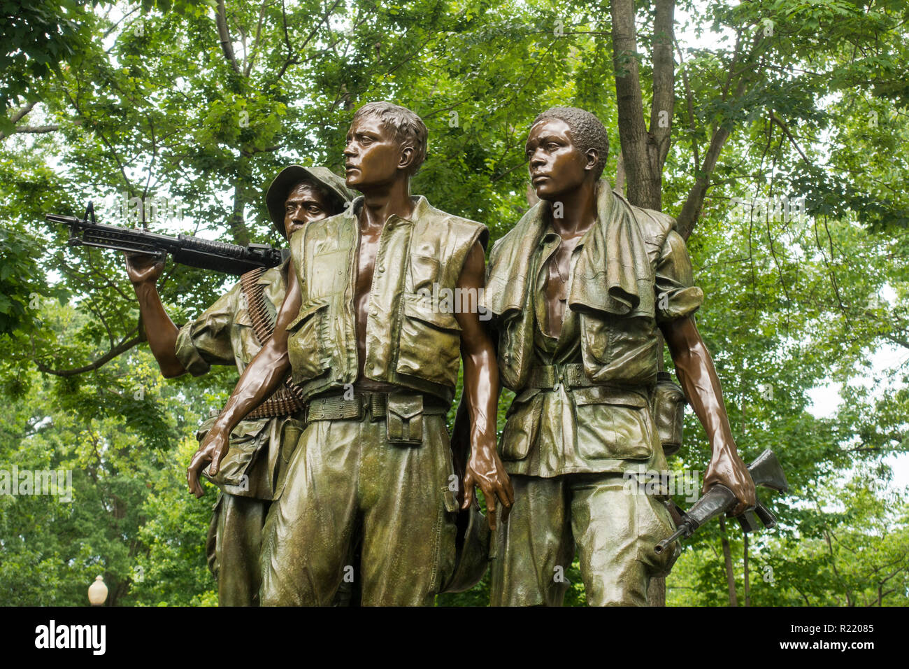 Vietnam Veterans Memorial soldiers Washington DC - Stock Image