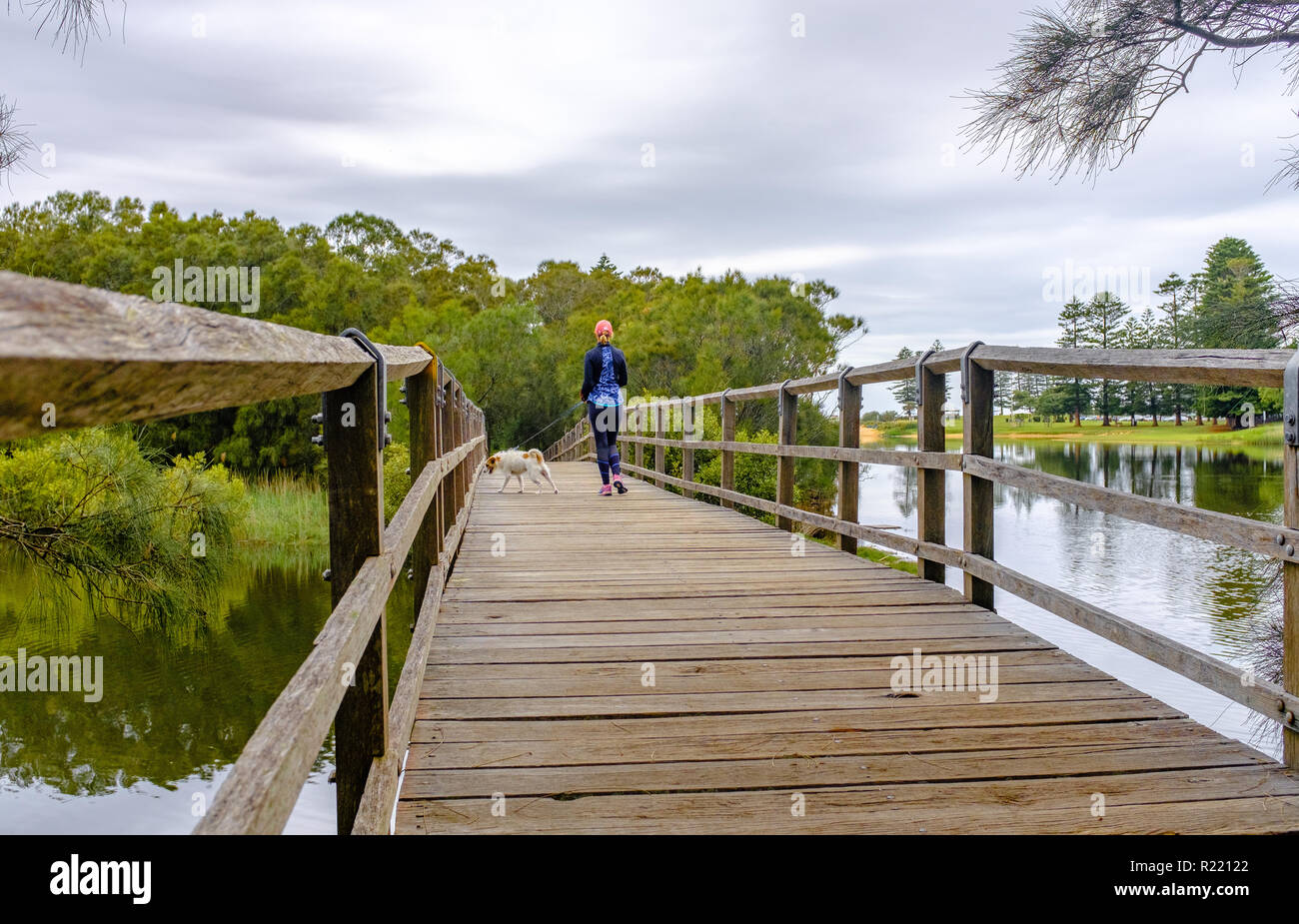 Rear view of Woman in sports lifestyle clothing outside enjoying unplugged me time walking away with small dog on rustic wooden bridge across river. - Stock Image