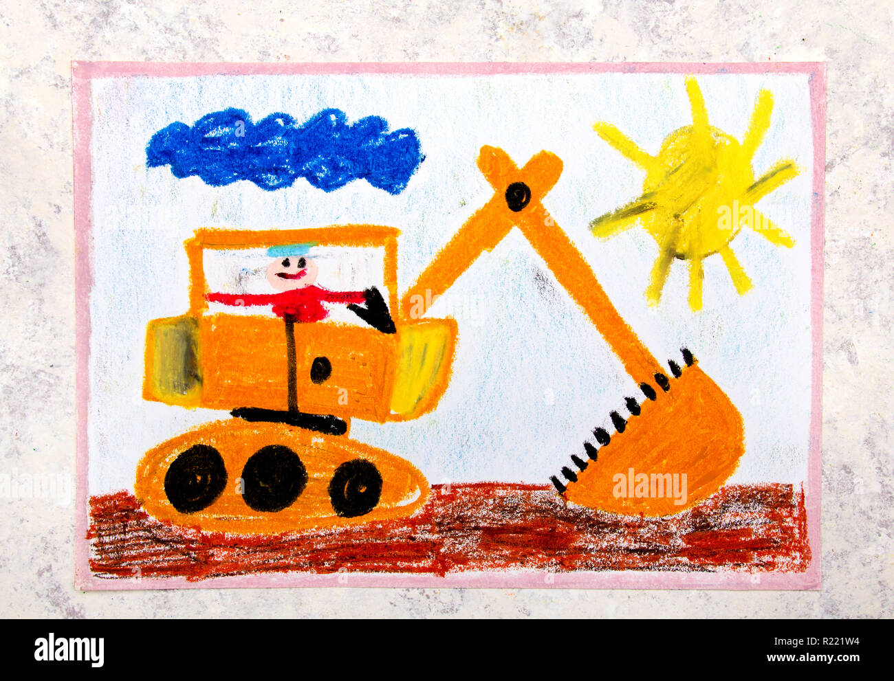 Colorful hand drawing: big yellow excavator Stock Photo