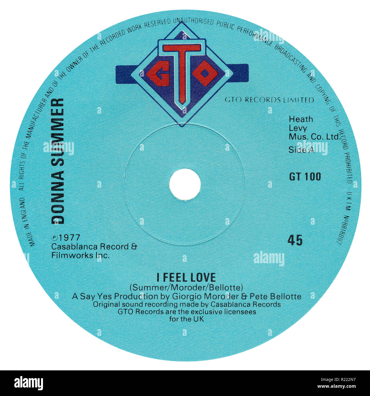 UK 45 rpm 7' single of I Feel Love by Donna Summer on the GTO label from 1977. Written by Donna Summer, Giorgio Moroder and Pete Bellotte and produced by Giorgio Moroder and Pete Bellotte. - Stock Image